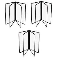 Bộ 3 bìa thực đơn 8 trang Urimenu trong suốt A4 viền may 2 kim màu đen cho nhà hàng, quán cafe