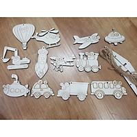 Đồ chơi tô màu bằng gỗ 12 mô hình phương tiện giao thông, quà tặng cho bé yêu sáng tạo