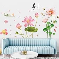 Decal dán tường hoa sen lotus combo sang trọng kích thước lớn