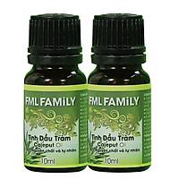 Combo 2 Tinh dầu Tràm Cao Cấp 10ml - FML FAMILY - Dùng tinh dầu xông phòng giúp khử mùi, thanh lọc không khí, thư giãn, kháng khuẩn, giải cảm, xua đuổi côn trùng