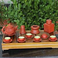 Bộ ấm chén tử sa đỏ đắp nổi hoa Phù Dung và phụ kiện gốm sứ Bát Tràng (bộ bình uống trà, bình trà)
