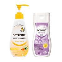 Combo sữa tắm kháng khuẩn Betadine hương mật ong Manuka chai 500ml + Dung dịch vệ sinh phụ nữ Betadine Gentle Protection - chai 250ml