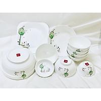 Bộ đồ ăn gốm sứ cao cấp 11 món :bát, đĩa, tô, chén  gốm sứ  - cây xanh 2