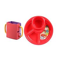 Combo Giá đựng hộp sữa có quai màu hồng + Khay ăn chia 3 ngăn có kèm khay để cốc, thìa dĩa (Màu đỏ) - Nội Địa Nhật Bản