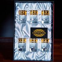 Bộ 6 Ly Shot Uống Rượu Mạnh 45ml Họa Tiết Cổ Điển