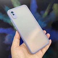 Ốp lưng cho Xiaomi Redmi 9A trong nhám viền màu che camera