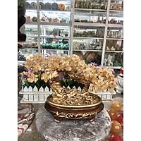 Cây tài lộc bonsai phong thủy đá thạch anh vàng - Cao 30 cm