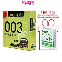 Bao Cao Cu Okamoto Real Fit Siêu mỏng 0,03 mm Ôm Khít Hộp 3 Chiếc Nhật Bản + Tặng 1 Hộp Bao Cao Su Sagami Xtreme White Gai Nổi Hộp 3 Chiếc Nhật Bản mylovestore