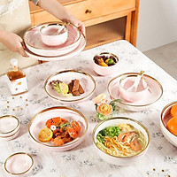 bộ chén , bát ăn 32 chi tiết hồng vân đá cao cấp