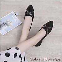 [O5] Giày bệt búp bê nữ đế bằng da lộn đính đinh xinh xắn hàng QC cao cấp - Kèm hình thật
