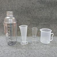 Combo 4 món pha chế quầy cà phê, sinh tố (Shaker 700ml In đậm)
