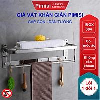 Kệ giá treo khăn tắm dán tường trong nhà vệ sinh Pimisi PR-011WM inox 304 giàn đa năng có kèm keo dán   hàng chính hãng