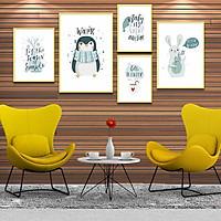 Bộ 5 tranh canvas treo tường Decor Hello winter (chim cánh cụt và thỏ trắng) - DC039