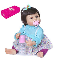 Decdeal Reborn Dolls 22 inch Silicone Full Body Realistic Lifelike Baby Real Touch Weighted Toddler Doll with Bear