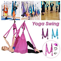 Hanging Toys Relax for Aerial yoga Women Swing Toys for Couples Yoga Fitness Resistance Bands Hanging Belt Suspension Pull Rope Workout -- Blue / Pink / Purple