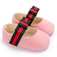 Giày tập đi búp bê đế mềm đính nơ xinh xắn cho bé gái – TD11