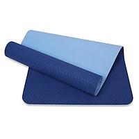 Thảm tập yoga TPE 6mm 2 lớp cao cấp (Xanh dương) + Túi và dây buộc