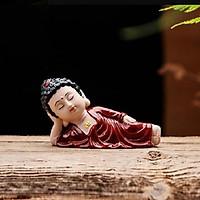 Tượng Phật Thích ca nằm niết bàn - áo nâu đỏ(kèm bộ tứ không)