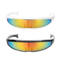 2Pcs Metallic Space Alien Sunglasses Cosplay Narrow Cyclop Eyewear Party Favor