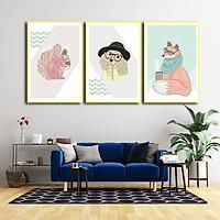 Bộ 3 tranh canvas treo tường Decor động vật dễ thương - DC086