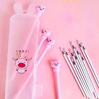 Bộ 4 bút heo hồng cute kèm hộp bút nhựa tặng kèm vỉ ngòi