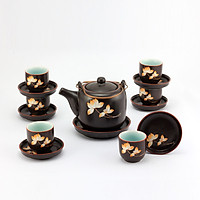 Bộ ấm chén tử sa vại khắc hoa Sen gốm sứ Bát Tràng (bộ bình uống trà, bình trà)