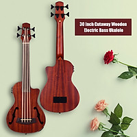 30 Inch Cutaway U-Bass UBass Wooden Electric Acoustic Bass Ukulele Ukelele Built-in EQ Tuner with F Sound Holes