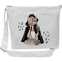 Túi tote mini đeo chéo TROY vải canvas in hình cô gái đọc sách Love style life