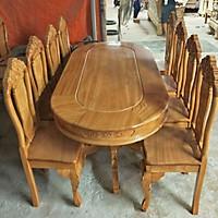 Bộ bàn ăn gỗ gõ 8 gế kiểu oval