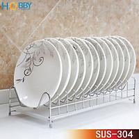 Kệ úp đĩa chén Inox 304 HOBBY KUD 12 ngăn không rỉ sét - kèm khay hứng nước - hàng cao cấp  - ngang 44cm