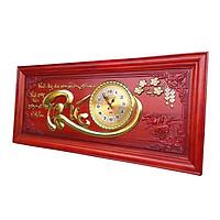Đồng hồ gỗ tranh chữ phúc cheo tường dán vàng