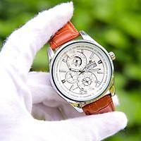 Đồng hồ nam 6 kim phong cách Ý dây da mặt tròn  CADN3051 hiển thị 2 lịch ngày tháng – Thiết kế sang trọng – Lịch lãm – Dễ dàng kết hợp trang phục