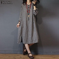 ZANZEA Womens Plaid Long Sleeve Kaftan Casual Loose Baggy Vintage Midi Shirt Dress