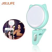 JISULIFE LED Selfie Light for Mobile Phone/Laptop Video Ring Light with 9-Level Adjustable Brightness Clip on Mini Cell