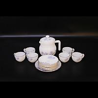 Bộ ấm trà Thủy tinh ngọc MP USA Homeset P3066SLGP hoa xanh