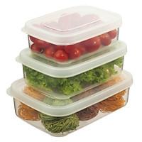 Bộ 3 hộp thực phẩm chữ nhật Hokkaido 750-1500-2500ml