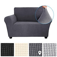 Decdeal Stretch Sofa Cover Anti-Slip Soft Couch Sofa Cover Washable for Living Room Kids Pets 4 Seat Grey