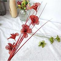 Cành hoa hồng kim tuyến dài 80cm trang trí bàn thờ - Oản , vật tư phụ kiện Oản