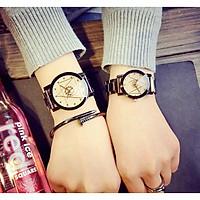 Đồng hồ nữ viên kim cương dây thép chống gỉ + full hộp HQC 10