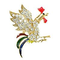 Rooster Cock Brooch Pin Rhinestone Multi-color Breast Pin Corsage silver