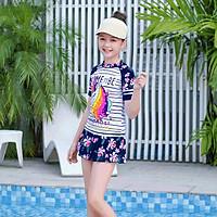 Đồ bơi bé gái chân váy rời họa tiết Kỳ lân size từ 20kg đến 50kg