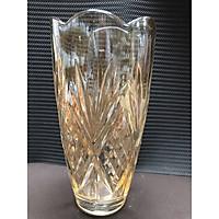 Bình cắm hoa pha lê thủy tinh cao cấp trắng vàng cao 30cm - ANTH493