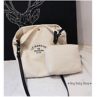Túi tote- túi vải Ulzzang phong cách Hàn Quốc in chữ vừa xách vừa đeo chéo 2 màu sang chảnh (hàng có sẵn)