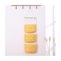 Túi đựng đồ 3 ngăn treo tường tiết kiệm diện tích, túi vải canvas bền đẹp đa năng tiện lợi - giao màu ngẫu nhiên