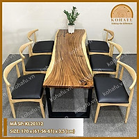 Bàn ăn dài gỗ me tây nguyên khối, bàn gỗ nguyên tấm