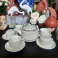 Bộ tách trà 3 chân men lưới Nhật Bản gốm Bát Tràng 1 ấm 6 tách 7 dĩa hộp xốp 36x28x13cm