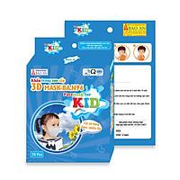 Hộp 10 khẩu trang 3D dành cho học sinh cấp 1-2-3 thương hiệu Bảo An, thiết kế 3 lớp êm ái ôm kín mặt.