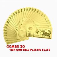 Combo 30 tờ lưu niệm 100 hình con Trâu màu vàng, chất liệu nhựa plastic (loại 2), dùng để trang trí trong nhà, treo cây hoa mai, làm tiền lì xì, quà mừng dịp Lễ, Tết 2021 - TMT Collection - SP005099