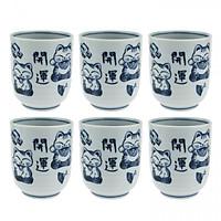 Combo 6 Cốc uống trà Nhật Bản hoạ tiết cổ điển hình Mèo Thần Tài cao cấp EVAN- JB076