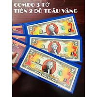 COMBO 3 Bao Lì Xì Tiền 2 USD Hình Con Trâu 2021 hình Trâu Vàng Lucky Money bao da xanh - The Merrick Mint